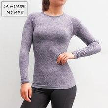 Женская дышащая футболка для йоги фитнес с длинным рукавом и