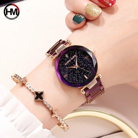 Pulseira de Relógio para Mulheres de Diamante Malha de Aço Movimento de Quartzo Hannah Martin Luxo Senhoras Relógio Roxo Starp Japão Feminino