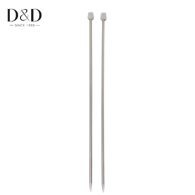 14 Inches 5mm Stainless Steel Straight Knitting Needles Set Weaving Needles Knit Tools 1 pair