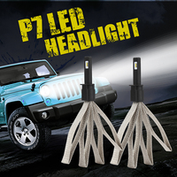 CROSS TIGER Car LED Headlight With Braid Radiating P7 9600LM Lamp Bulb H1 H3 H4 H7