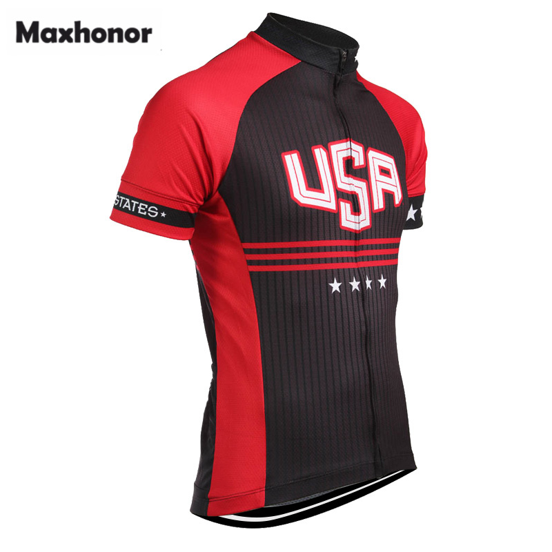 e217a225d 2018 usa cycling jersey red black short sleeve retro cycling clothing ropa  de ciclismo mallot Customized maxhonor full zipper-in Cycling Jerseys from  Sports ...