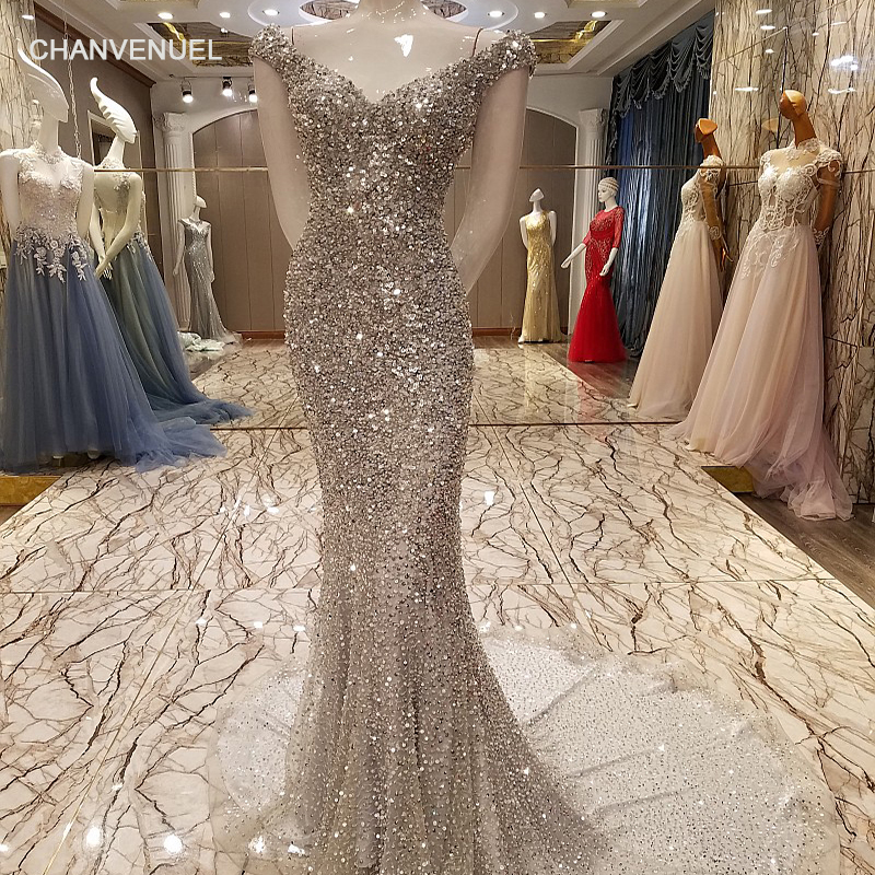 LSX7329 Luxury mermaid   evening     dress   sexy bling sequins crystals long party   dress   robe de soiree sirene real photos