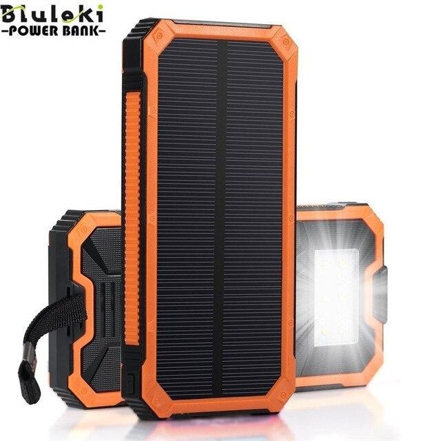 Оригинал Bluleki Солнечной Энергии банк Мобильный Телефон Power Bank Портативный Сотовый Зарядное устройство Внешнего Мобильного Телефона Powerbank 15000 мАч
