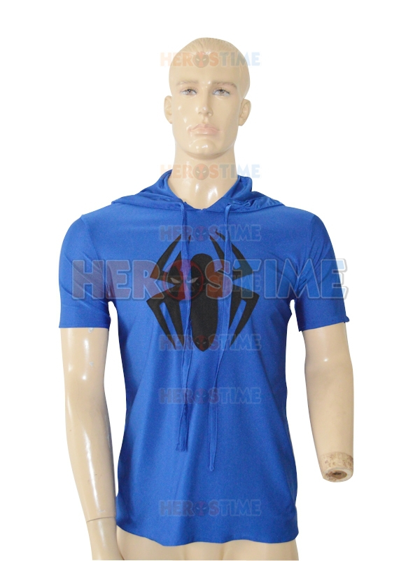 Spider-Man Costume Royal Blue Hooded T-shirt Black Spider Spiderman Superhero Costume Halloween Casplay Suit Free Shipping