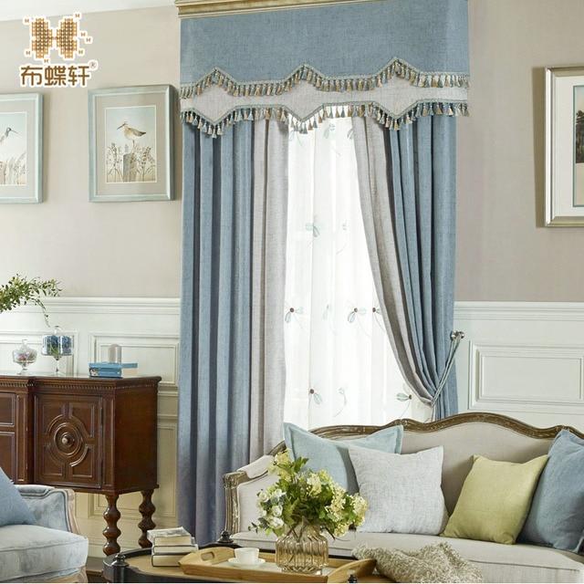 Rideaux De Style Moderne Et Simple Pour Salon Chambre étude Solide Bleu Et  Gris Imitation Lin