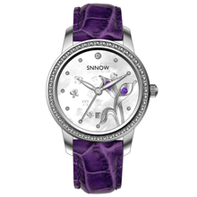 Fashion watches women Luxury Elegant quartz watches Waterproof luminous purple leather calendar leisure CASIMA# 6601