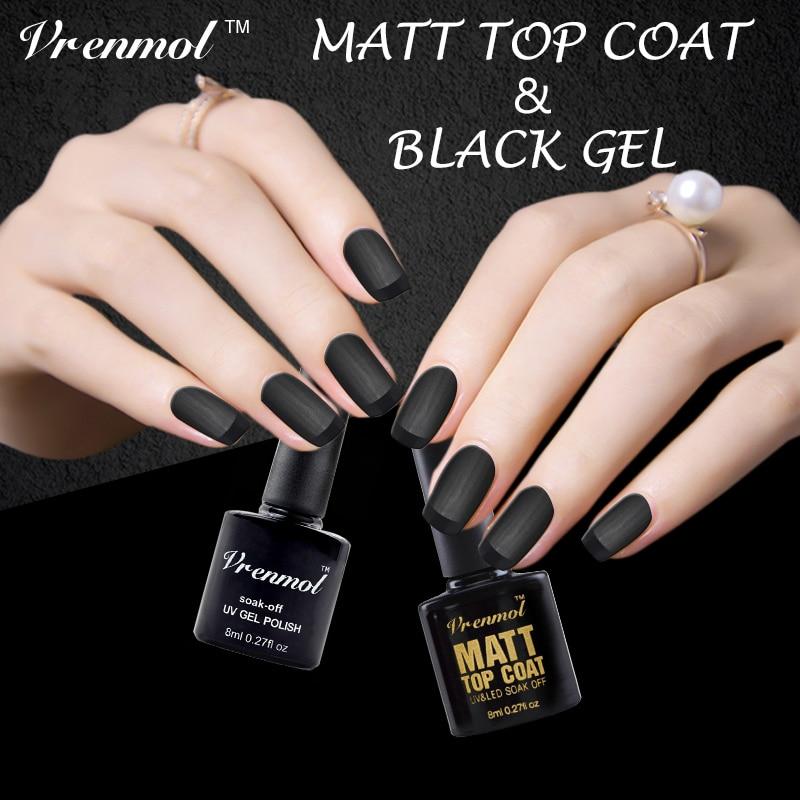 Vrenmol 2pcs Dark Black Color Gel Polish + Matt Matte Top Coat Uv ...