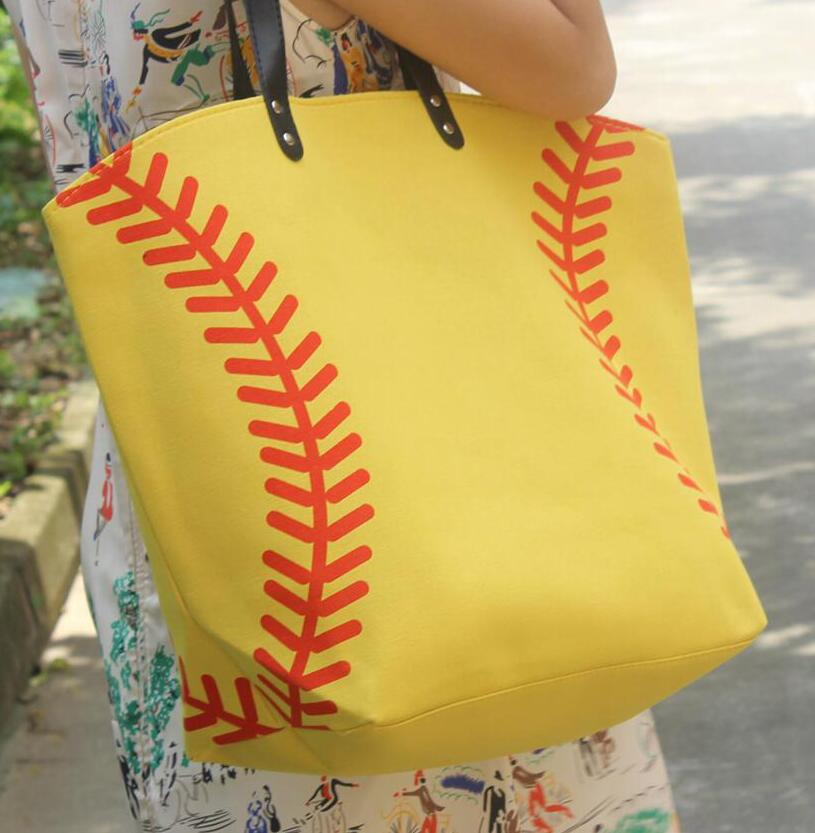 wholesale new yellow softball white baseball Jewelry Packaging Blanks Kids Cotton Canvas Sports Bags Baseball Softball Tote Bag
