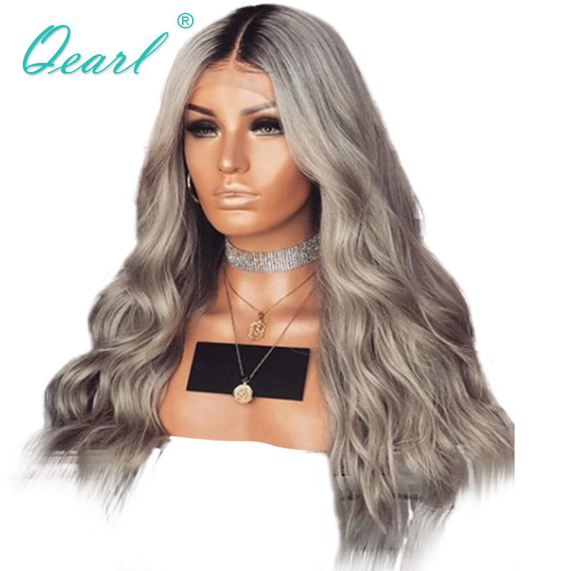 Glueless Lace Front Wigs Natural Wave Brazilian Remy Human Hair Lace Wigs Grey Blonde with Dark