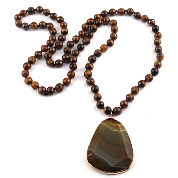 5fa12b8c0d44 MOODPC moda Bohemia joyería Natural Ojo de Tigre piedra anudada piedra  pendiente mujeres collar