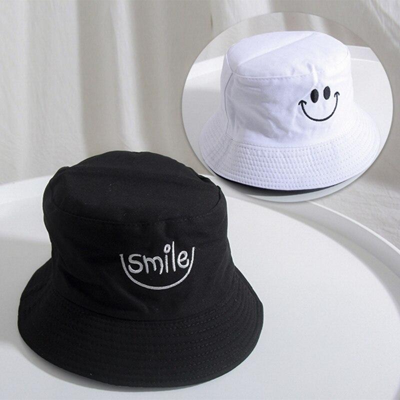 2019 New Style Men Fleece Bucket Hats For Women Smile Embroidery Letter Caps Fashion Street Hip Hop Cap Sunscreen Fisherman Cap Panama Hat Last Style