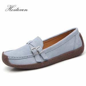 Image 2 - Zapatos de mujer Hosteven mocasines planos mocasines Oxfords barco Casual cuero genuino mujer cuero negro zapatos