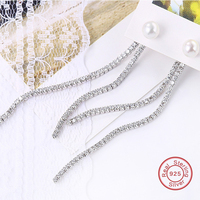 2017 Europe Exaggerate Women Accessories 925 Sterling Silver Pearl Long Drop Long Chain Earrings Temperament Brincos