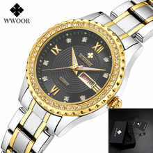 2019 WWOOR Women Dress Watches Top Luxury Brand Ladies Quartz Watch Steel Mesh Band Casual Gold Bracelet Wristwatch reloj mujer wwoor women watches top brand luxury stainless steel mesh band gold casual watch ladies business quartz watch relogio feminino