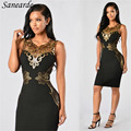 2017 Women Black Red Hollow Out V-neck Elastic Sexy Embroidery Print Dresses Vestidos Bodycon Party Night Club Dress Femme Robe