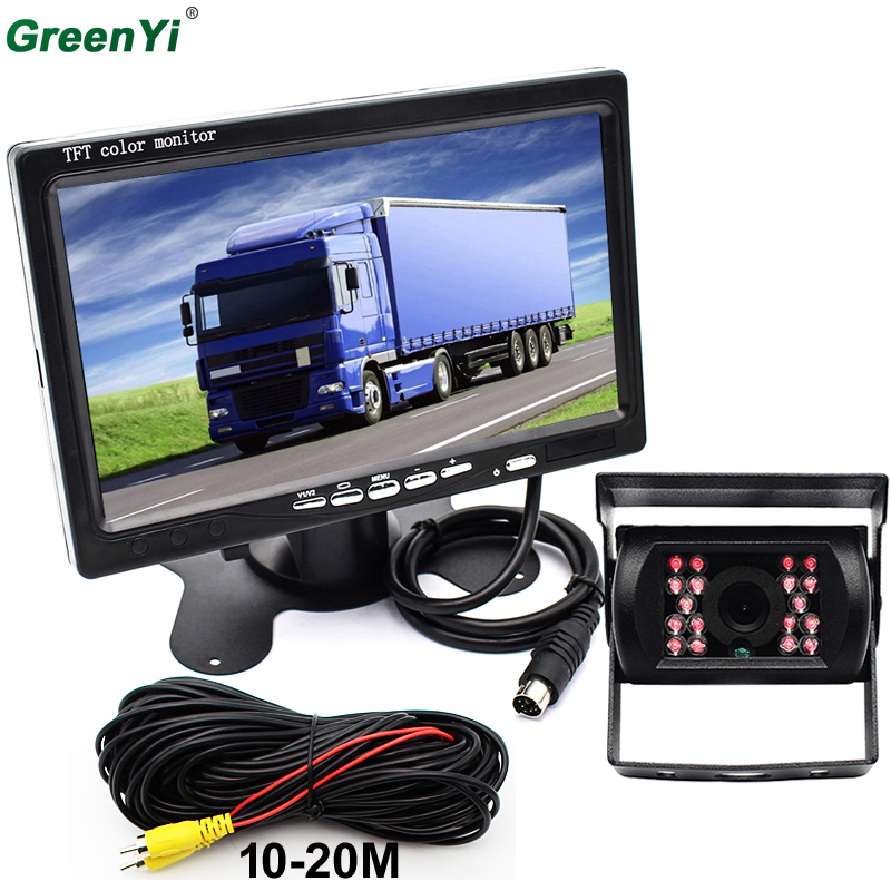 Car Backup Camera Rear View IR Night Vision + 7 TFT LCD Monitor Parking Assistance System For Truck Van Caravan Trailers Camper ...