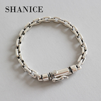 SHANICE Korean style hand made S925 sterling silver retro old cross chain bracelet men and women silver jewelry punk style