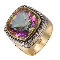 Factory price Huge Rose Rainbow Crystal ZirconGold Filled Beautiful Ring Size 6 7 8 9 10 F1317