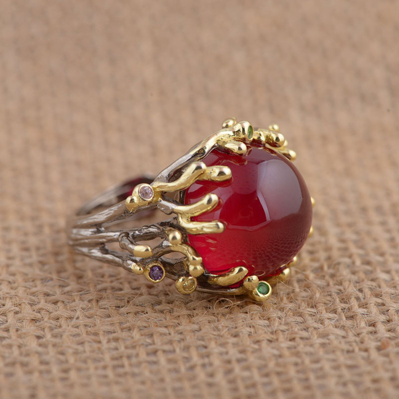 FNJ 925 Sterling Silver Ring synthetic red corundum S925 Thai Silver Rings for Women Men Jewelry
