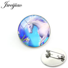 JWEIJIAO Rainbow Unicorn Brooches White Horse Art Picture 25mm Glass Dome Customized Men Women Clothes Hat Decorate FQ229(China)