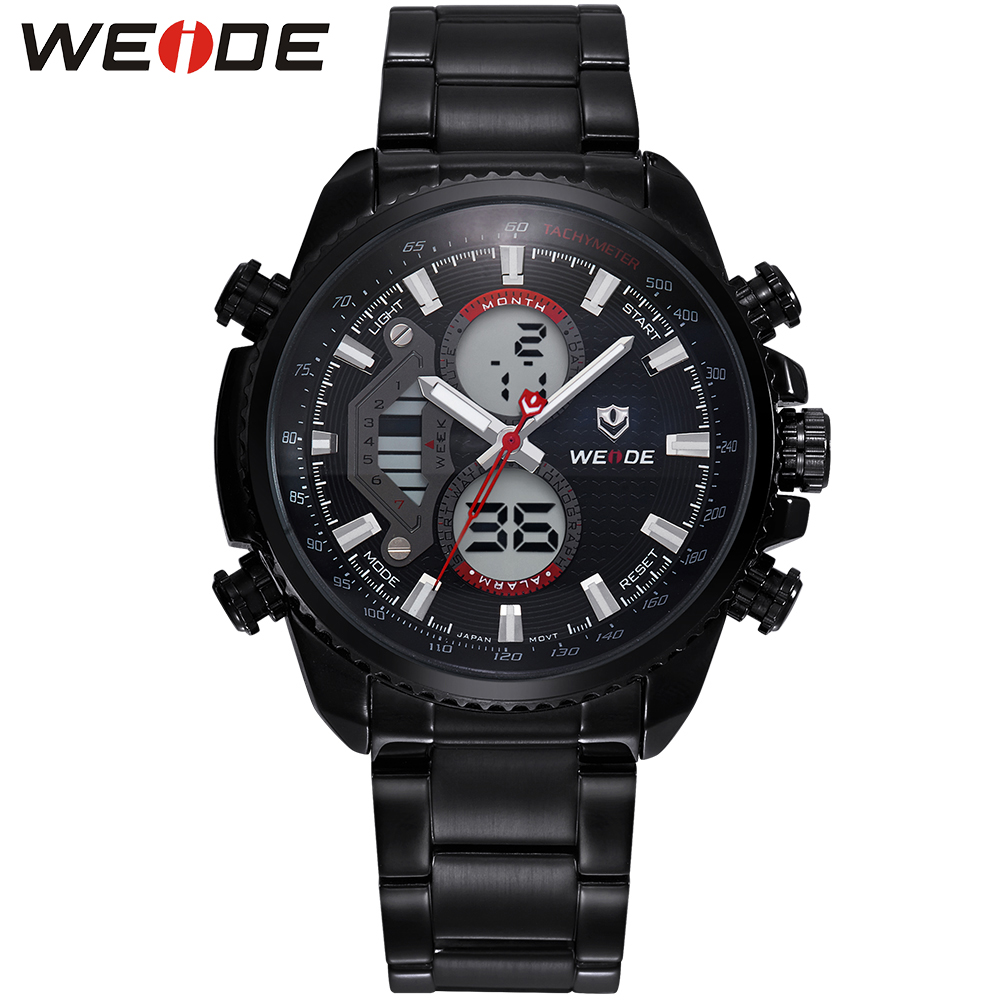 ФОТО WEIDE Sports Watches Men Luxury Brand Military Relogio Masculino Stainless Steel Analog Digital Watch Multiple Time Zone Display
