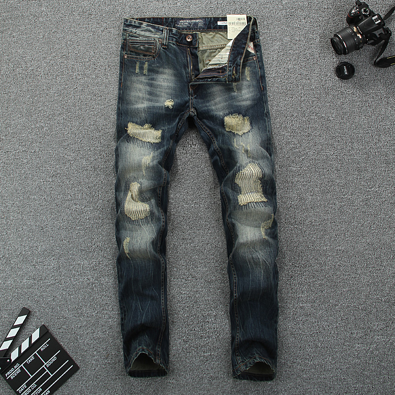 European American High Street Fashion Men Jeans Retro Design Vintage Destroyed Ripped Jeans For Men Slim Fit Biker Jeans Pants 2017 skull character designer jeans men tapered slim europe american style blue pencils retro grey vintage ripped broken pants