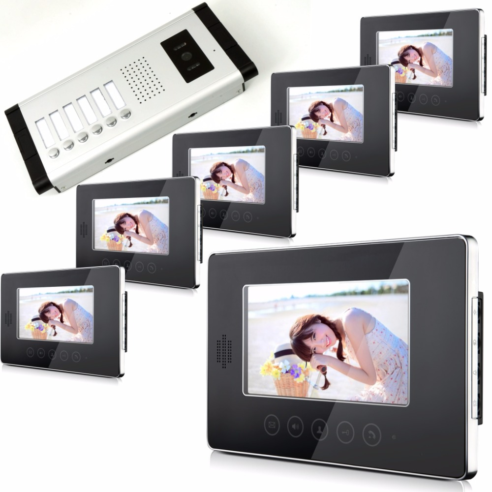7 Inch Color Monitor Intercom Video Door Phone With 6 Monitor Touch Screen