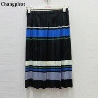 Changpleat 2019 Spring New stripe Women skirts Miyak Pleated Fashion Design Elastic waist Female Skirt Tide