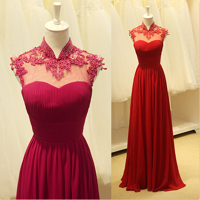 Sexy Sheer High Neck Beaded   Bridesmaid     Dresses   2016 With Applique Lace Wedding Party Gowns Real robe demoiselle d'honneur
