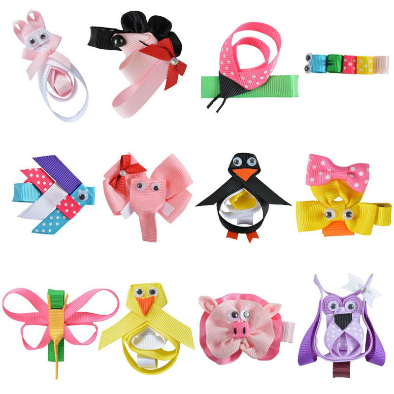 Girls Boutique Grosgrain Ribbon Hair Bows Alligator Clips For Baby Teens Kids Toddler Children Animal Flower Hair Clip 12pcs/lot 40pcs lot 30 colors 4inch hair bows kids girls hair clips boutique bows hairpins for kids children kids girl hair accessories