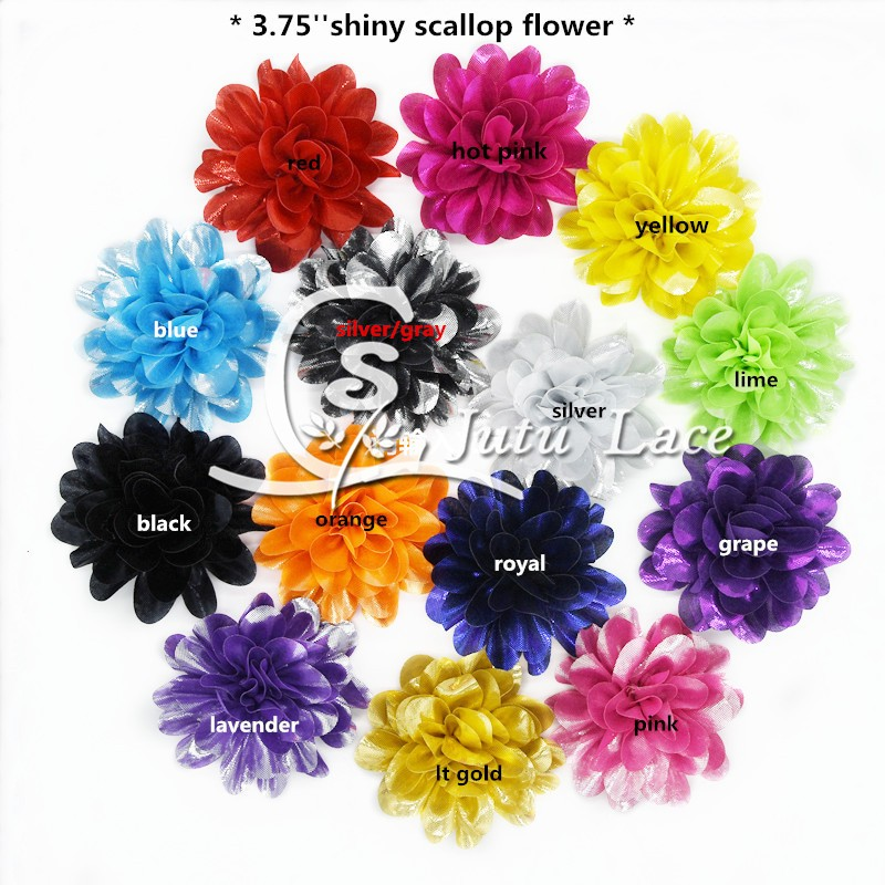 60 pcs lot 3 75 scallop shiny shabby flower shiny lotus flower