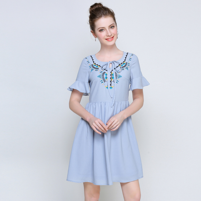 5xl woman summer dress plus size office lady brief cute flare sleeve knee  length blue chiffon f310a2d1e705