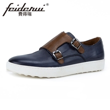 British Style Genuine Leather Men's Double Monk Straps Footwear Round Toe Handmade Man Platform Comfortable Casual Shoes KUD97 beautoday monk shoes women buckle straps genuine leather calfkin round toe lady flats handmade brogue style shoes 21408
