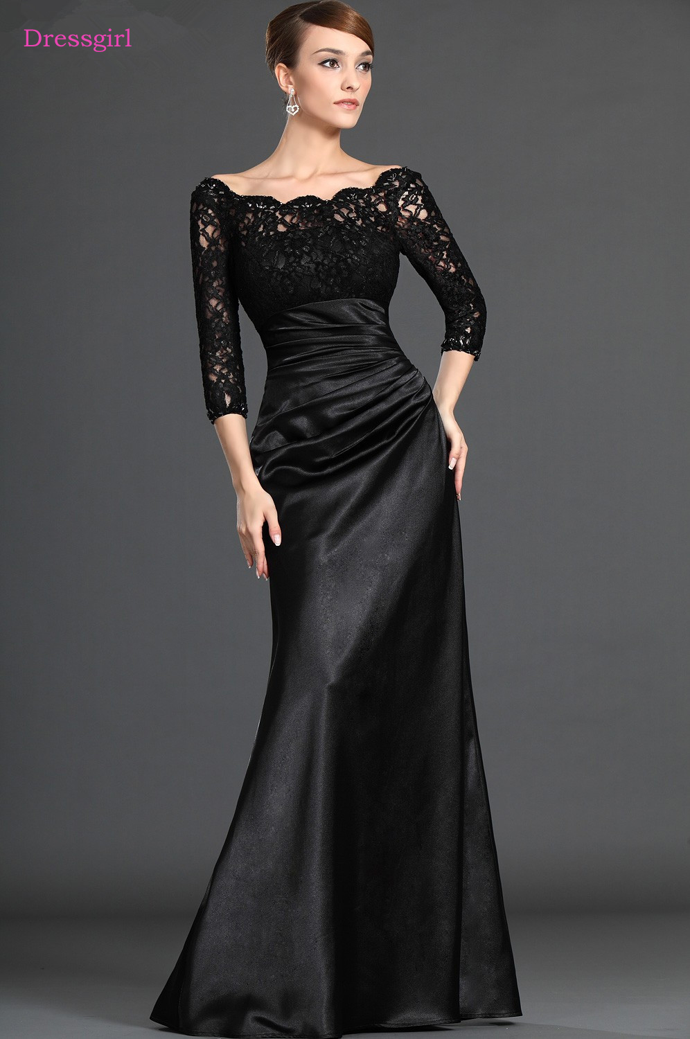 Black 2018 Mother Of The Bride Dresses Mermaid 3/4 Sleeves Satin Lace Plus Size Long Elegant Groom Mother Dresses Wedding