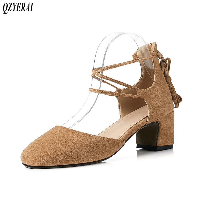 QZYERAI 2019 new summer leisure women sandals leather and sheepskin insoles 6cm heel high fashion strappy sandals sizes 34 43