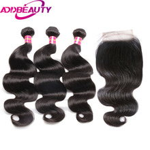 Addbeauty бразильский Для тела волна натуральная Человеческие Волосы Связки с Накладные волосы для волос Salon длинные волосы проц 10-20% волос