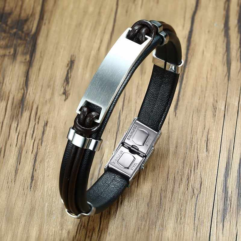 Mens' Leather Bracelet Braslet Brackelts Armband Male Pulseira Casual Jewelry