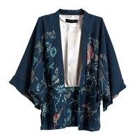2017 Autumn Harajuku Women Japanese Kimono Printed Bat Sleeve Loose Cardigan Blouse