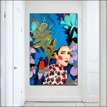 SELFLESSLY Art Vogue Girls Nordic Poster Caroon Painting Canvas Art For Living Room Wall Art Fashion Girl Modern Style Pictures блуза caroon
