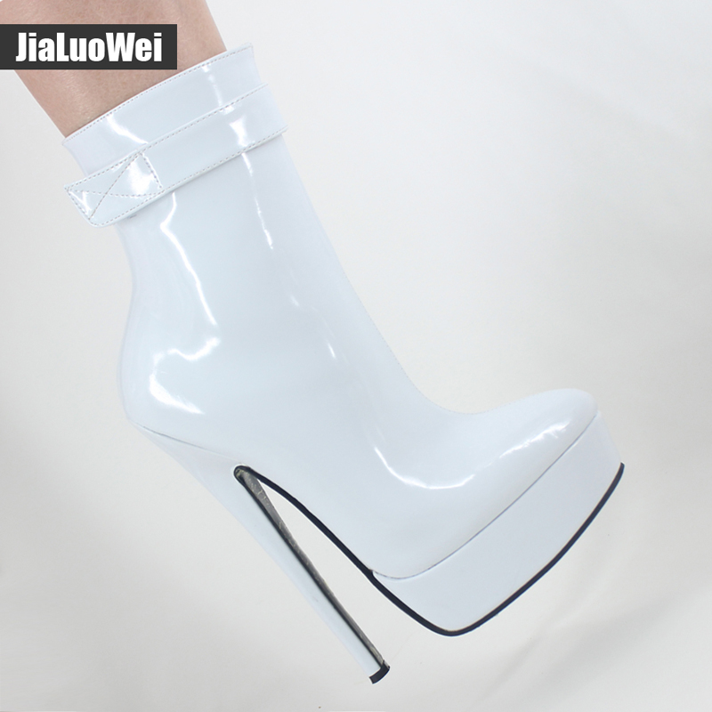 jialuowei Women Boots 18cm High Thin Heels Boots Sexy Fetish Ladies Platform Ankle Boots Dance Party Shoes Black White Boots large size 33 42 sexy ankle boots platform thin high heels women boots plush inside keep warm black white apricot brown shoes