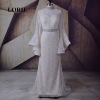 LORIE New Plus Size Dresses Evening High Neck Beaded Long Sleeve Lace Mermaid Prom Dress Party