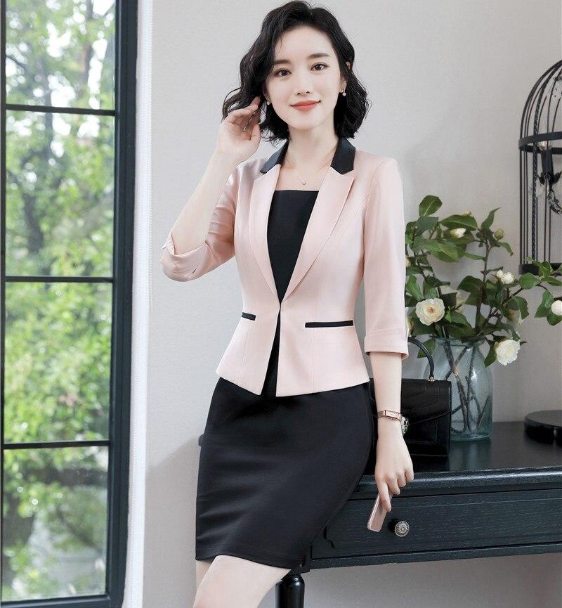 Begeistert Neue Stile 2019 Mode Rosa Formale Business Anzüge Mit Kleid Und Jacken Mantel Ol Stile Damen Arbeit Tragen Blazer Sets