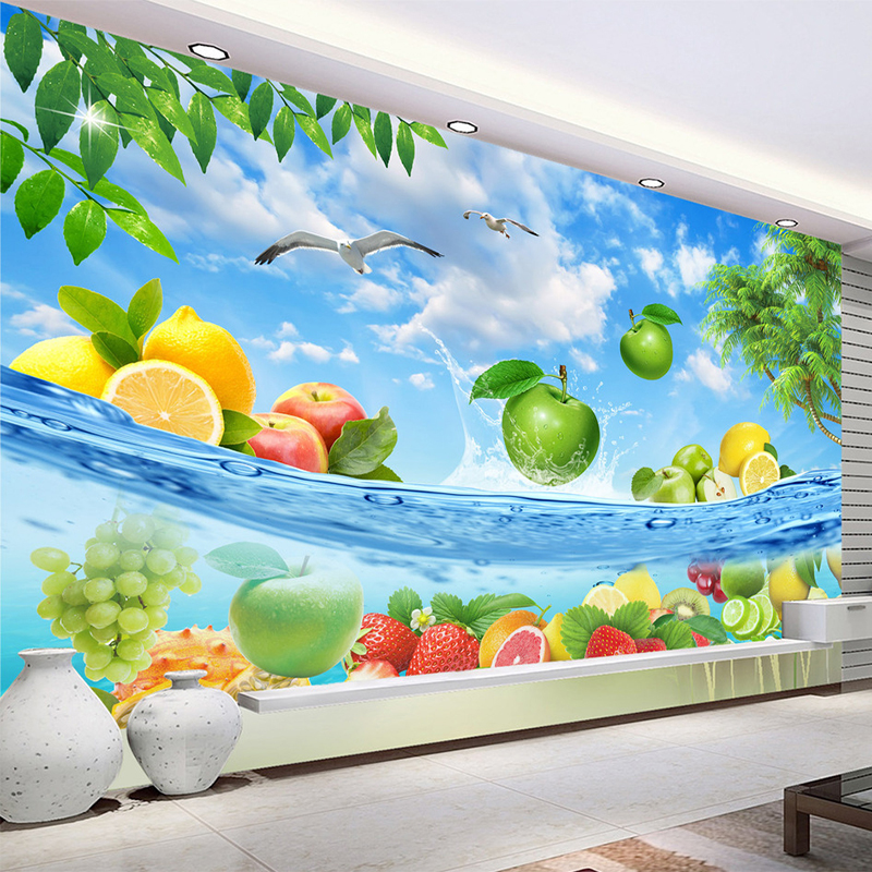 HD Fruit Seawater Fresh Summer Photo Wallpaper 3D Wall Mural Fruit Shop Restaurant Kitchen Backdrop Wall Decor Papel De Parede