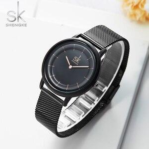 Image 2 - Sk relógios de couro moda simples relógios de quartzo para reloj mujer senhoras relógio de pulso shengke relogio feminino
