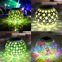 Yeni Varış Güneş Enerjili Mozaik Cam Değiştirme Masa Lambası LED Şarj Edilebilir Waterpro Gece Lambası Dekorasyon Hediye CLH
