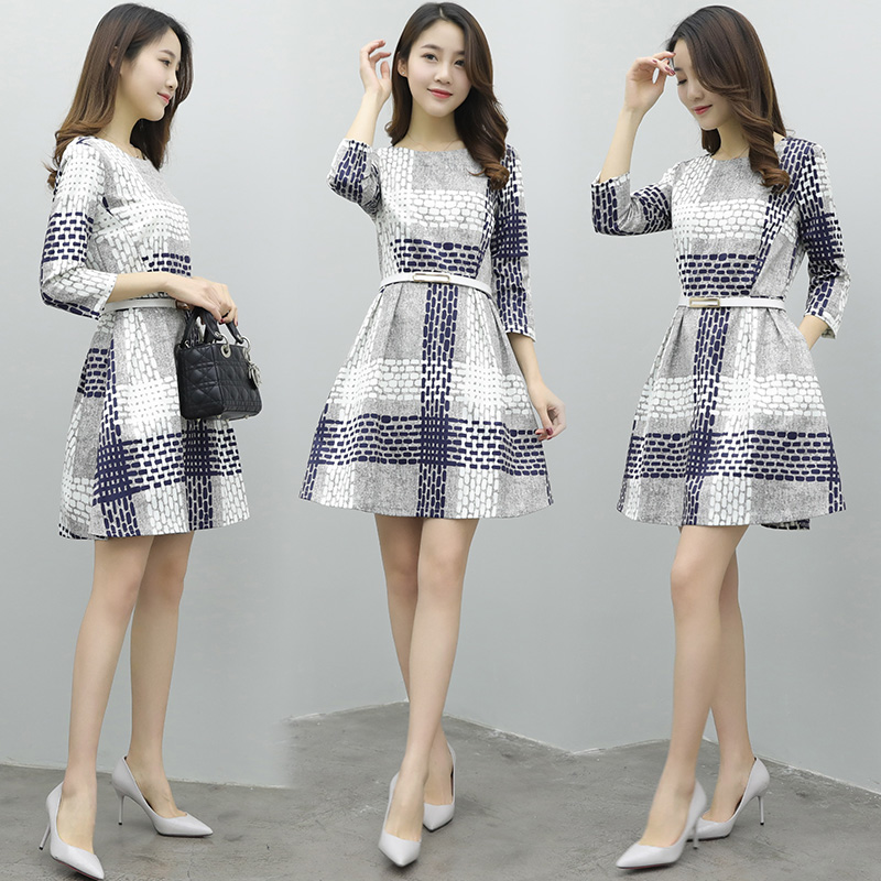Spring A Word 7 Minutes Of Sleeve Dress Female In The New Long Thin Render Skirt