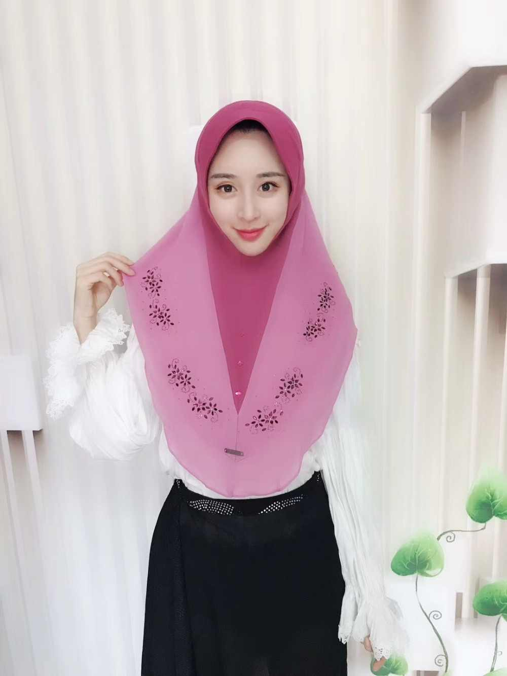 Muslim Instant Wraps Malaysia M 75D Thick Pearl Chiffon Hot Fix Rhinestone Design Convenient One Piece Hijab Women