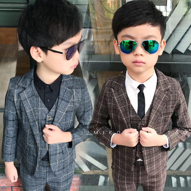 Us 39 9 British Style Wedding Boy Dress Kid Slim Blazer Suits Vest Jacket Pant Child Costume Baby Boy Clothing Set School Prom Suits In Clothing