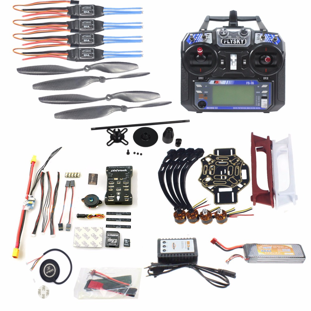 купить DIY FPV Drone Quadcopter 4-axle Aircraft Kit 450 Frame PXI PX4 Flight Control 920KV Motor GPS FS-i6 Transmitter недорого