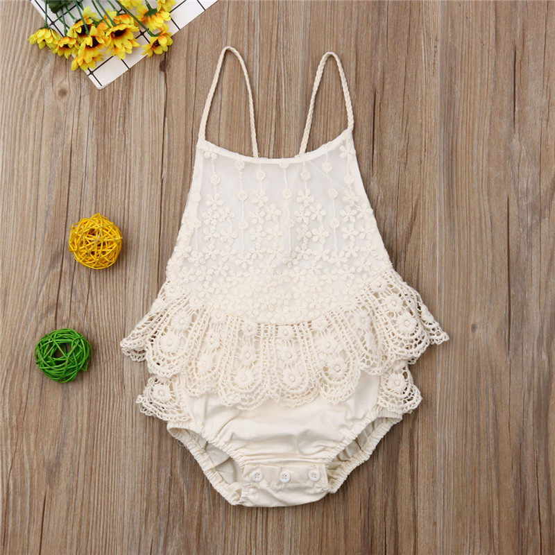 2019 Summer Baby Girls Infant Lace Tutu   Romper   Adorable Sleeveless Jumpsuit Backless Playsuit Baby Outfit Clothes 0 to 12M